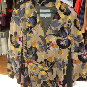 EUC Rachel Roy Floral Trench Coat sz 12